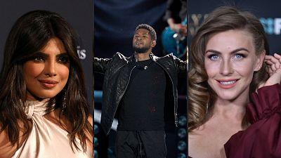 Pictures of the three hosts, Priyanka Chopra, Usher, and Julianne Hough.