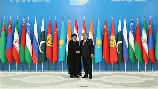 استقبال امامعلی رحمان، رئیس جمهوری تاجیکستان از ابراهیم رئیسی