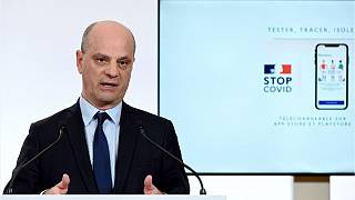 French Education and Youth Affairs Minister Jean-Michel Blanquer speaks in Paris.