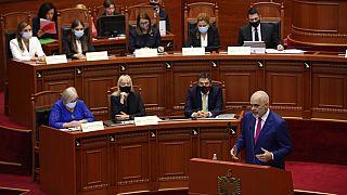 Albanian Prime Minister Edi Rama speaks during a debate at the parliament in Tirana, Albania, Thursday, Sept. 16, 2021.