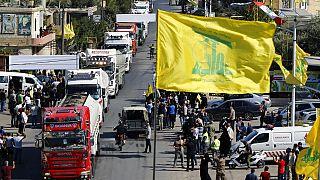 وصول قافلة شاحنات صهاريج النفط الإيراني إلى لبنان، في بلدة العين الشرقية، لبنان، الخميس 16 أيلول/سبتمبر 2021