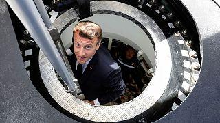 امانوئل ماکرون، رئیس جمهوری فرانسه در سایت تولید زیردریایی هستهای در شربورگ