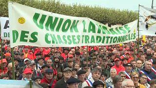Manifestación de cazadores en Francia