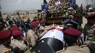 تشییع جنازه صالح ثماد در صنعا/۲۸ آوریل ۲۰۱۸