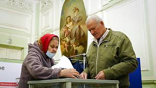 People cast their ballots in St. Petersburg on Saturday