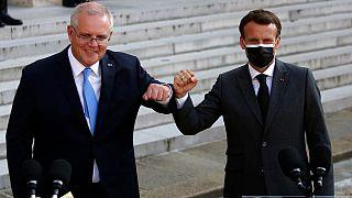 El primer ministro australiano, Scott Morrison, con el presidente francés, Emmanuel Macron, en París, el pasado mes de junio