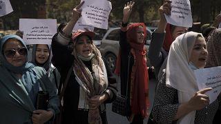 مظاهرة نسائية في كابول ضد طالبان