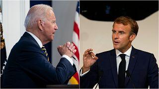 صورة للرئيس الفرنسي إيمانويل ماكرون وأخرى للرئيس الأمريكي جو بايدن