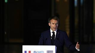 French President Emmanuel Macron speaks during the EUMED 9 summit in Athens on September 17.