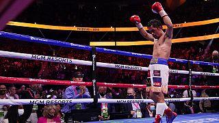 Archives : le boxeur philippin Manny Pacquiao, lors de son dernier combat à Las Vegas, le 21/08/2021