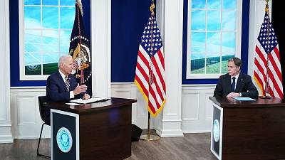 US President Joe Biden, with US Secretary of State Antony Blinken, holds a virtual meeting with the Major Economies Forum on Energy and Climate.