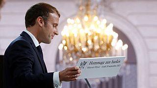 """Emmanuel Macron """"demande pardon"""" aux harkis au nom de la France, le 20 septembre 2021, Palais de l'Elysée, Paris, France."""