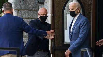 President Joe Biden leaves mass at St. Edmund Roman Catholic Church in Rehoboth Beach, Delaware