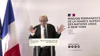 Jean-Yves Le Drian en una rueda de prensa en Nueva York, el 20 de septiembre de 2021