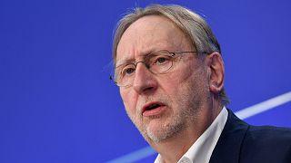 German Member of European Parliament Bernd Lange at a press conference in Brussels on 27 April 2021