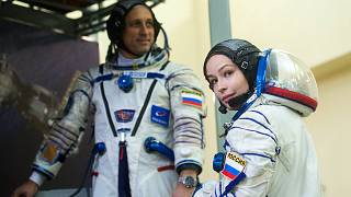 Actress Yulia Peresild attends the complex examination training at the Gagarin Cosmonauts' Training Centre in Star City outside Moscow.