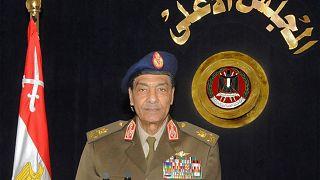قائد المجلس العسكري الحاكم في مصر المشير حسين طنطاوي في خطاب متلفز في القاهرة في 24 يناير 2012