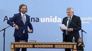 Alberto Fernández jura a Santiago Cafiero como ministro de asuntos exteriores, 20/9/2021, Buenos Aires, Argentina