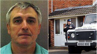 (L-R) Sergey Fedotov -- an alias for Denis Sergeev -- and the home of Salisbury poisoning victim Sergei Skripal