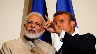 Fransa Cumhurbaşkanı Emmanuel Macron ve Hindistan Başbakanı Narendra Modi