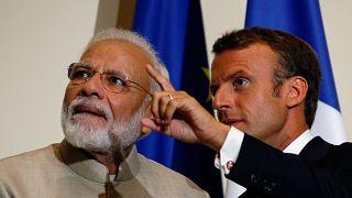الرئيس الفرنسي ايمانويل ماكرون ورئيس الوزراء الهندي ناريندرا مودي