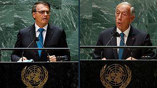 Jair Bolsonaro e Marcelo Rebelo de Sousa durante os discursos na ONU