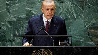 الرئيس التركي رجب طيب أردوغان يلقي كلمة أمام الدورة 76 للجمعية العامة للأمم المتحدة في نيويورك، 21 سبتمبر 2021
