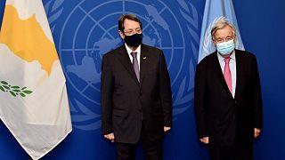 Ο Πρόεδρος της Κύπρου Νίκος Αναστασιάδης με τον Γ.Γ του ΟΗΕ Αντόνιο Γκυοτέρες