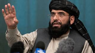 Suhail Shaheen, Afghan Taliban spokesman and a member of the negotiation team, during a joint news conference in Moscow, Russia, March 19, 2021.