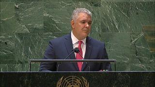El presidente de Colombia Iván Duque habla en las Naciones Unidas, 21/9/2021