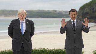 الرئيس الفرنسي إيمانويل ماكرون و رئيس الوزراء البريطاني بوريس جونسون