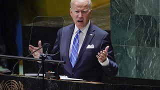الرئيس الأميركي جو بايدن خلال كلمته أمام الجمعية العامة للأمم المتحدة في نيويورك. 21/09/2021