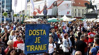 Korlátozásellenes tüntetés Zágrábban 2021. szeptember 18-án