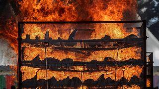 آتش زدن شاخ کرگدن در هند