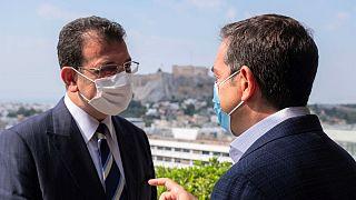 Ο δήμαρχος της Κωνσταντινούπολης Εκρέμ Ιμάμογλου και ο πρόεδρος του ΣΥΡΙΖΑ Αλέξης Τσίπρας