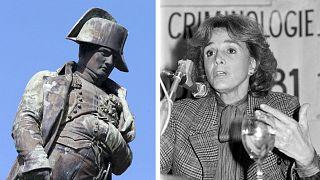 A gauche, la statue de Napoléon à Ajaccio le 15/03/2021 (par P. POCHARD-CASABIANCA) / A droite, Gisèle Halimi à Lille le 14/10/1981 (par B. HORVAT)