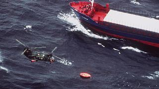 Swedish Marine rescue helicopter flies over the life rafts from MS Estonia in 1994.