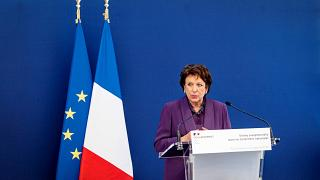 """Roselyne Bachelot delivers a speech before unveiling a painting by Spanish painter Pablo Picasso """"Enfant a la sucette assis sous une chaise"""" at the Picasso Museum, Sept 2021"""