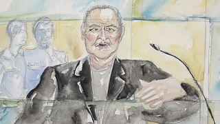 """This 2017 courtroom sketch shows Venezuelan-born Ilich Ramirez Sanchez, known as """"Carlos the Jackal""""."""