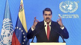 El presidente de Venezuela, Nicolás Maduro, se dirige a distancia a la 76ª sesión de la Asamblea General de las Naciones Unidas en un mensaje pregrabado, el 22 de septiembre.