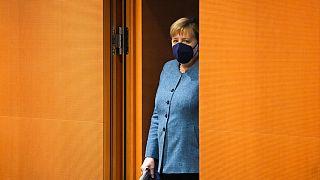 Arrivée d'Angela Merkel à son dernier conseil des ministres avant les élections fédérales, Berlin, 22 septembre 2021