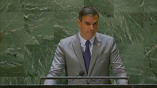 Pedro Sánchez, presidente del Gobierno de España, en la Asamblea General de la ONU