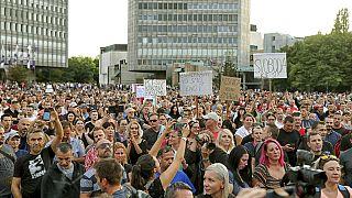 A múlt heti hasonló tüntetés Ljubljanában