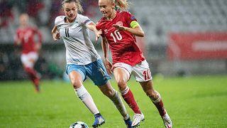 Denmark's Pernille Harder and Israel's Irena Kuznezov in the women's European Championship qualifier between Denmark and Israel, in Viborg, Denmark, Oct. 21, 2020.