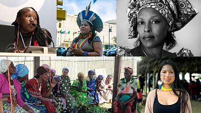 Leaders from the Global Women's Assembly for Climate (from L-R) Ruth Nyambura, Sônia Guajajara, Neema Namadamu, Helena Gualinga, and WECAN training in the DRC.
