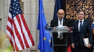 وزير الخارجية الفرنسي جان إيف لو دريان ووزير الخارجية الأمريكي أنتوني بلينكين في واشنطن العاصمة، 14 يوليو. 2021