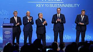 Çekya, Slovenya, Macaristan başbakanları, Sırbistan Cumhurbaşkanı ve Bosna Hersek Devlet Başkanlığı Konseyi Başkanı Milorad Dodik (soldan sağa)
