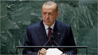 الرئيس التركي رجب طيب إردوغان يلقي كلمة في 21 أيلول/سبتمبر 2021  أمام الجمعية العمومية للأمم المتحدة خلال انعقاد دورتها الـ76