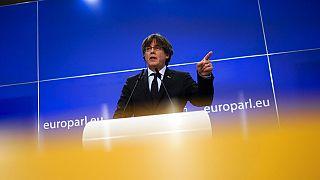 Carles Puigdemont en conférence de presse à Bruxelles, le 9 mars 2021