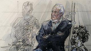 Le terroriste vénézuélien, Ilich Ramirez Sanchez, dit Carlos ou le Chacal, dans le box des accusés de la cour d'assises à Paris, 22 septembre 2021
